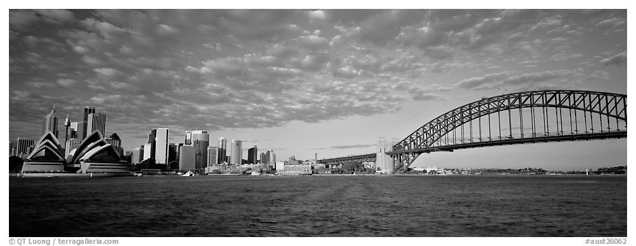 Sydney cityscape from harbor sydney new south wales australia black and white
