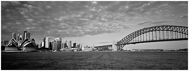 Sydney cityscape from harbor. Sydney, New South Wales, Australia (Panoramic black and white)