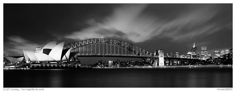 Sydney night view of opera house and Harbor Bridge. Sydney, New South Wales, Australia (black and white)