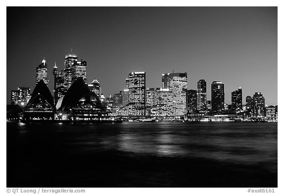 Skyline at night. Sydney, New South Wales, Australia (black and white)