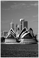 Opera House and skyline. Sydney, New South Wales, Australia (black and white)
