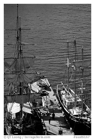 Historic Sailboats in harbour. Sydney, New South Wales, Australia (black and white)