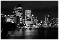 Brisbane reflected in the river at night. Brisbane, Queensland, Australia (black and white)