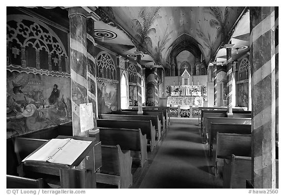 Inside Saint Benedict Catholic Church (Painted Church), South Kona. Big Island, Hawaii, USA (black and white)