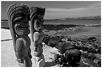 Polynesian god statues in Puuhonua o Honauau (Place of Refuge). Big Island, Hawaii, USA ( black and white)