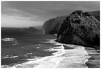 North shore coast from Polulu Valley overlook. Big Island, Hawaii, USA (black and white)