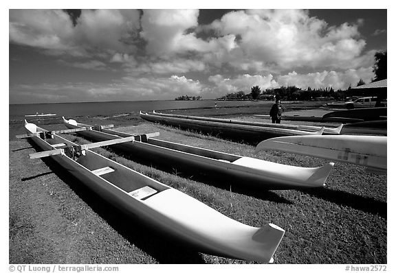 Traditional outtrigger canoes in Hilo. Big Island, Hawaii, USA (black and white)