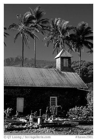 Church (1860) and palm trees, Keanae Peninsula. Maui, Hawaii, USA (black and white)
