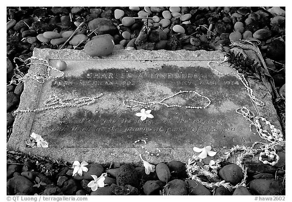 Tomb of Charles Lindbergh in Kipahulu. Maui, Hawaii, USA (black and white)