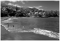 The beach of Hana. Maui, Hawaii, USA (black and white)