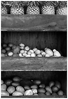 Fruit stand detail. Maui, Hawaii, USA ( black and white)