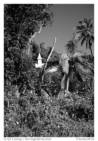 Church,  Kenaea Peninsula. Maui, Hawaii, USA (black and white)