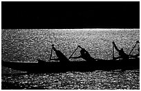 Backlit hawaiian canoe paddlers, Maunalua Bay, late afternoon. Oahu island, Hawaii, USA (black and white)