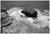 Layered rocks, Portlock. Oahu island, Hawaii, USA ( black and white)