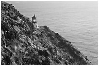 Makapuu head lighthouse, early morning. Oahu island, Hawaii, USA (black and white)