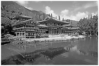 Byodo-In temple reflected in pond, morning. Oahu island, Hawaii, USA (black and white)