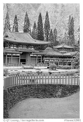 Byodo-In Temple. Oahu island, Hawaii, USA (black and white)
