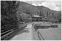 Bridge and Byodo-In Temple, morning. Oahu island, Hawaii, USA (black and white)