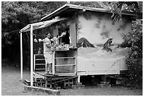 Decorated fruit stand. Oahu island, Hawaii, USA (black and white)