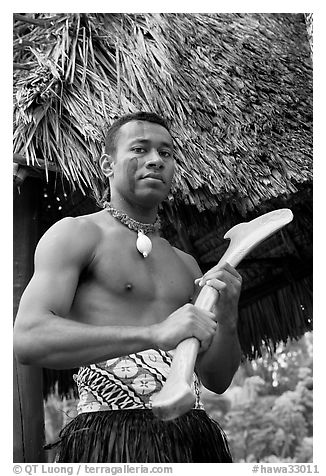 Fiji man. Polynesian Cultural Center, Oahu island, Hawaii, USA (black and white)