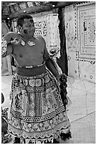 Fiji tribal chief inside vale levu house. Polynesian Cultural Center, Oahu island, Hawaii, USA ( black and white)