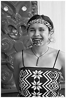 Maori woman with facial tatoo. Polynesian Cultural Center, Oahu island, Hawaii, USA ( black and white)