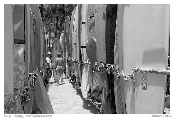 Racks of surfboards. Waikiki, Honolulu, Oahu island, Hawaii, USA (black and white)