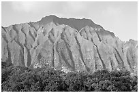 Fluted mountains, Koolau range, early morning. Oahu island, Hawaii, USA (black and white)