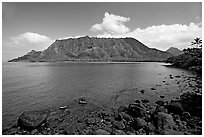 Kahana Bay, afternoon. Oahu island, Hawaii, USA (black and white)