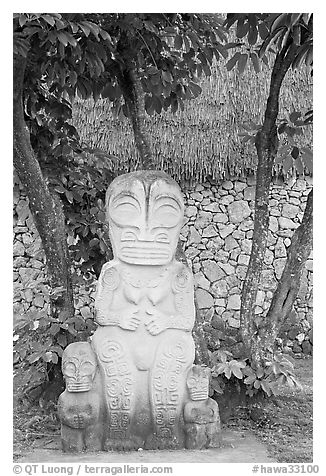 Marquesas statue and walls. Polynesian Cultural Center, Oahu island, Hawaii, USA (black and white)