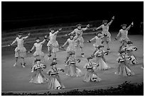 Hawaiian dancers on stage. Polynesian Cultural Center, Oahu island, Hawaii, USA ( black and white)