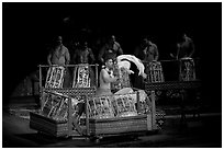 Tonga drummers on stage. Polynesian Cultural Center, Oahu island, Hawaii, USA ( black and white)