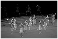 Dance Performance by Maori women. Polynesian Cultural Center, Oahu island, Hawaii, USA ( black and white)