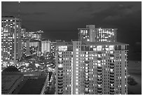 High-rise hotels at dusk. Waikiki, Honolulu, Oahu island, Hawaii, USA (black and white)