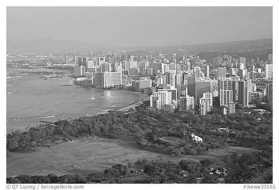 Honolulu seen from the Diamond Head crater, early morning. Honolulu, Oahu island, Hawaii, USA (black and white)