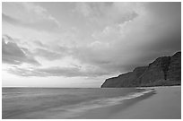Polihale Beach and Na Pali cliffs,  dusk. Kauai island, Hawaii, USA ( black and white)