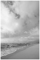 Beach, ocean, and clouds, Lydgate Park, early morning. Kauai island, Hawaii, USA ( black and white)