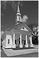 White church, Koloa. Kauai island, Hawaii, USA (black and white)