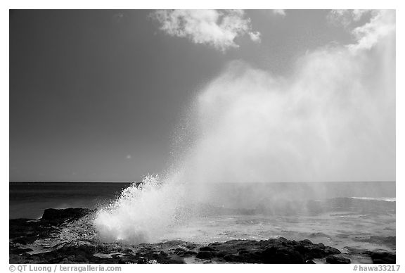 Spouting horn blow hole. Kauai island, Hawaii, USA (black and white)