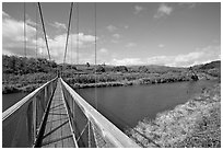 Swinging bridge, Hanapepe. Kauai island, Hawaii, USA (black and white)