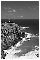 Kilauea Lighthouse, perched on a bluff. Kauai island, Hawaii, USA (black and white)