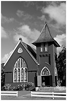 Green church of United Church of Chirst, Hanalei. Kauai island, Hawaii, USA (black and white)