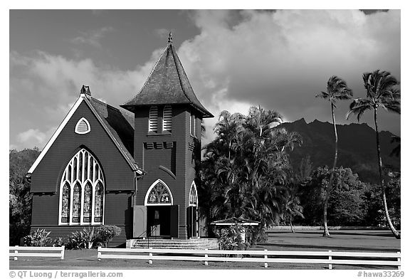 Waioli Huila Church built in 1912, Hanalei. Kauai island, Hawaii, USA (black and white)