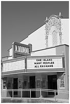 Movie theater with text celebrating Kauai, Lihue. Kauai island, Hawaii, USA ( black and white)