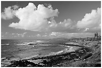 Coast north of Kapaa with Sleeping Giant profile, early morning. Kauai island, Hawaii, USA ( black and white)