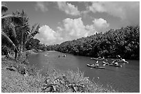 Kayaks, Hanalei River. Kauai island, Hawaii, USA (black and white)