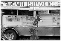 Truck selling shave ice. Kauai island, Hawaii, USA ( black and white)