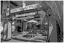 Ching Young Village shopping center, Hanalei. Kauai island, Hawaii, USA (black and white)