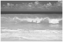 Breaking wave and turquoise waters, Haena Beach Park. North shore, Kauai island, Hawaii, USA (black and white)