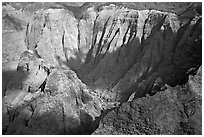 Aerial view of a crater, Na Pali Coast. Kauai island, Hawaii, USA ( black and white)